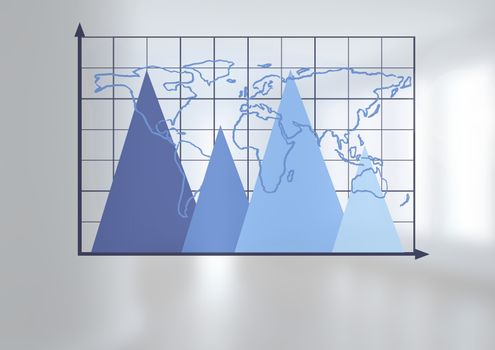 Triangular chart grid with world map with bright background