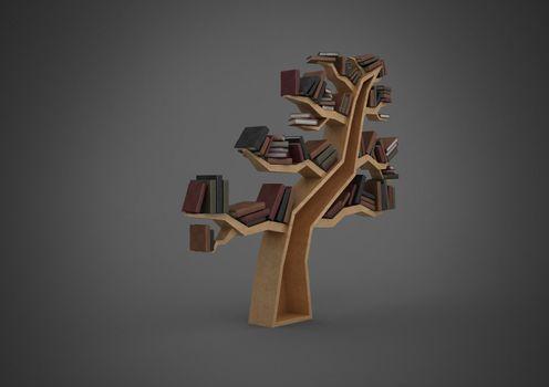 Grey background with tree bookshelf