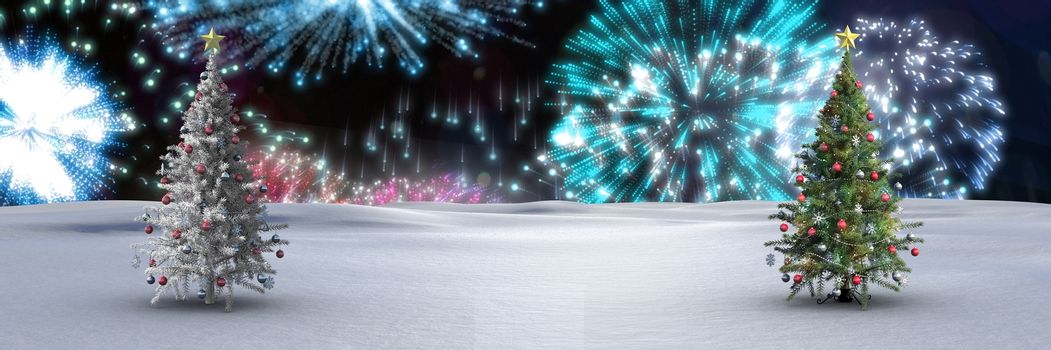 Christmas trees in winter landscape with fireworks