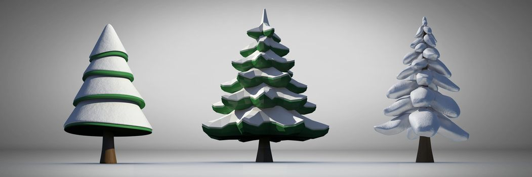 Christmas trees with grey background