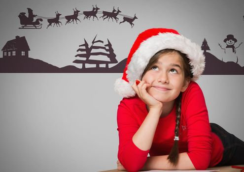 Girl against grey background with Santa Christmas hat and hair braid and Christmas illustrations
