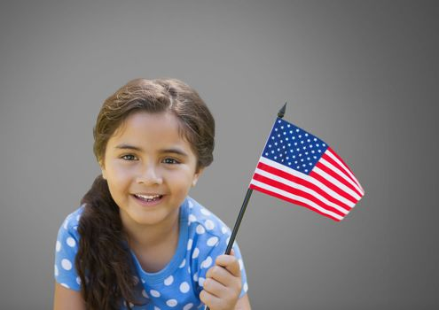 Girl against grey background with American flag