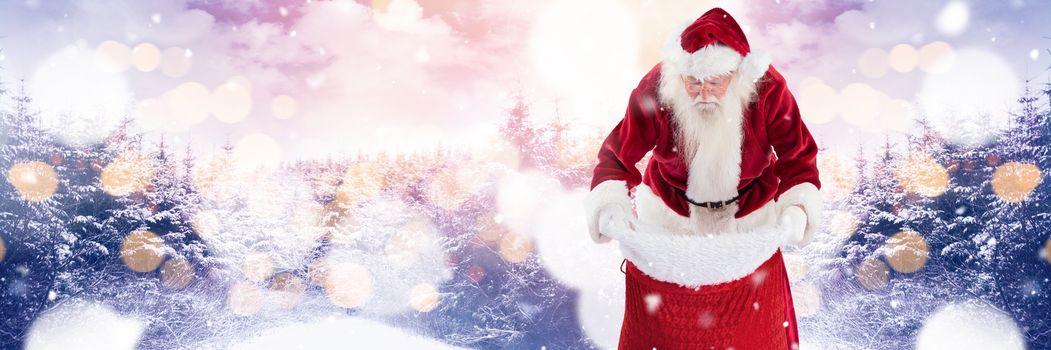 Santa with Winter landscape in chimney