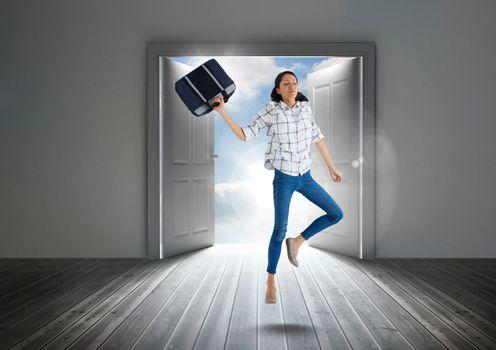 Businesswoman floating in door