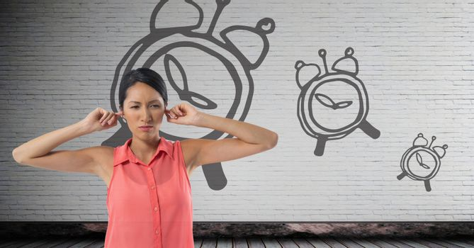 frustrated woman with clocks