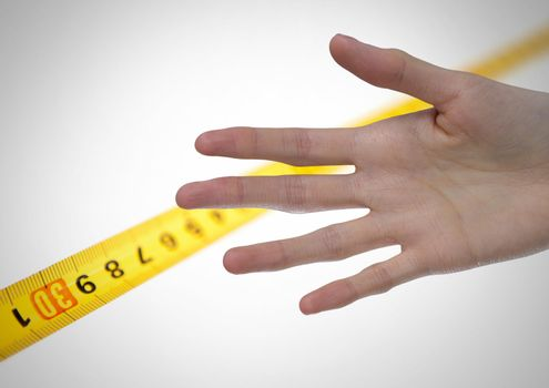Measuring tape and size of long hand and fingers