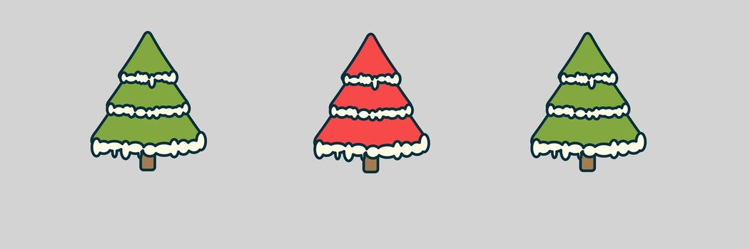 3 Christmas trees illustrations in a row