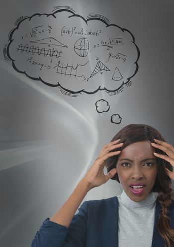 frustrated woman doing maths