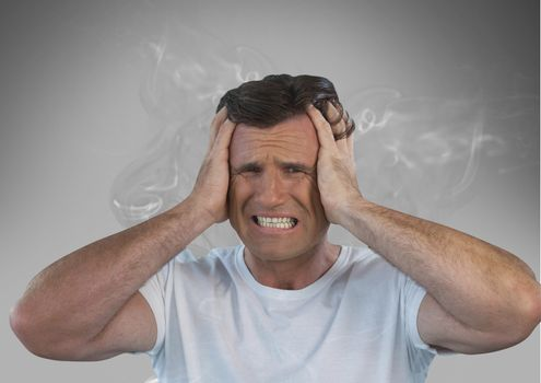 frustrated man with smoke