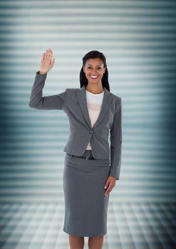 Businesswoman waving with ridges