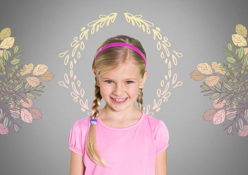 Girl against grey background with braided hair and pretty flower patterns