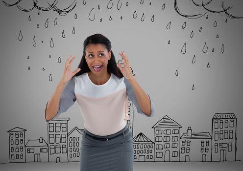 Frustrated woman in rain