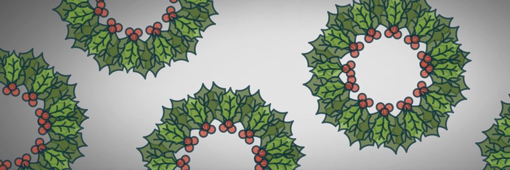 Grey background with holly boughs