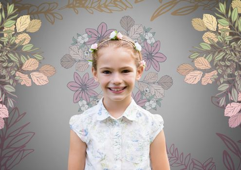 Girl against grey background with flowers in hair and pretty flower patterns