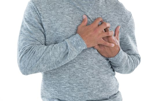 Male executive suffering from heart attack