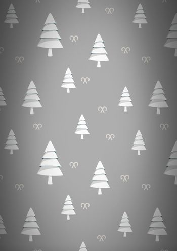Christmas trees pattern on grey background