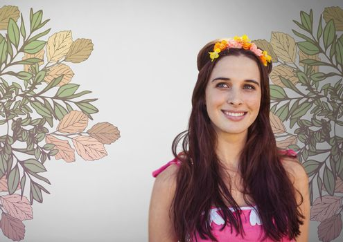 Young woman against grey background with flowers in hair and pretty flower illustrations