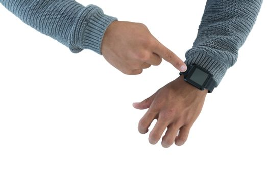 Male executive using smartwatch