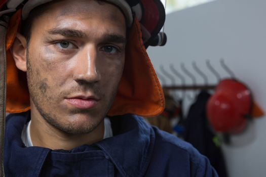Close-up of fireman in the office
