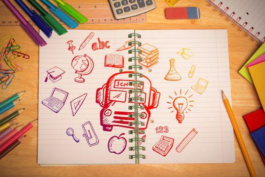 Education doodles against students desk