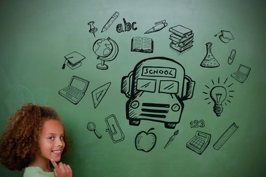 Composite image of education doodles with cute pupil thinking