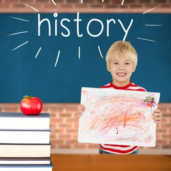 History against red apple on pile of books in classroom