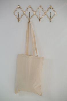 Grocery bag hanging on hook