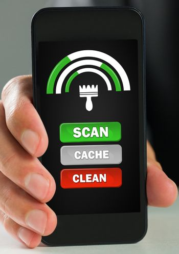 Hand using phone with scan and clean cache buttons