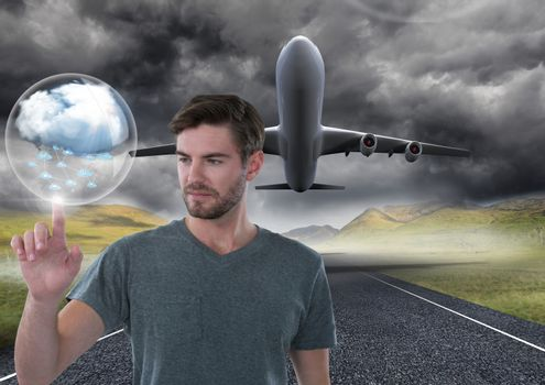 Cloud bubble and Businessman touching air in front of airplane on runway