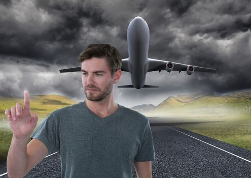 Businessman touching air in front of airplane on runway