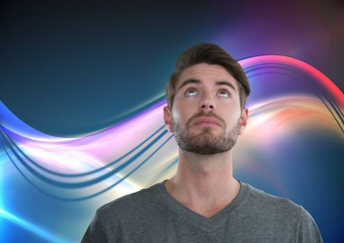Man looking up with light curves background