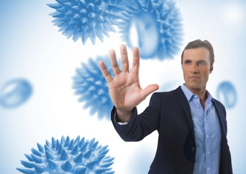 Businessman touching air with open hand in front of science micro organisms