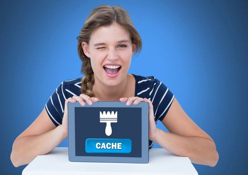 Woman holding tablet with Cache button and clean brush icon