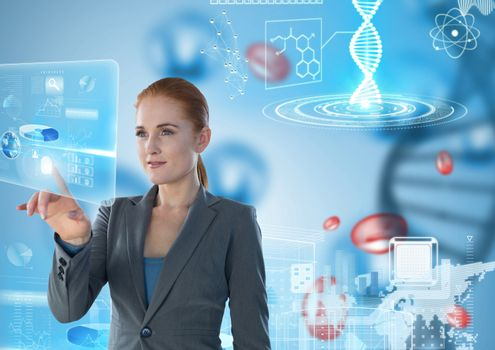 Medical interface and Businesswoman touching air in front of science micro organisms