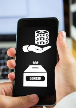 Hand using phone with donate money box icons