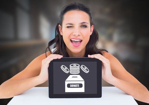Woman holding tablet with donate for charity box and money icon