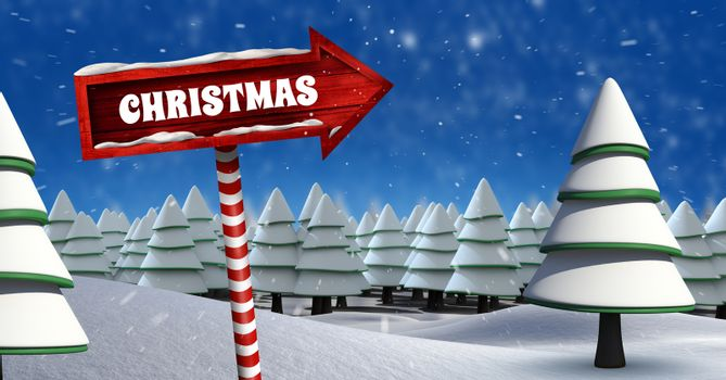 Christmas text and Wooden signpost in Christmas Winter landscape with trees