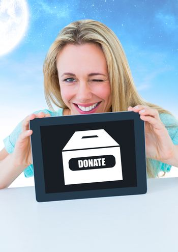 Woman holding tablet with donate box icon