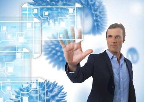 Minimal interface and Businessman touching air with open hand in front of science micro organisms