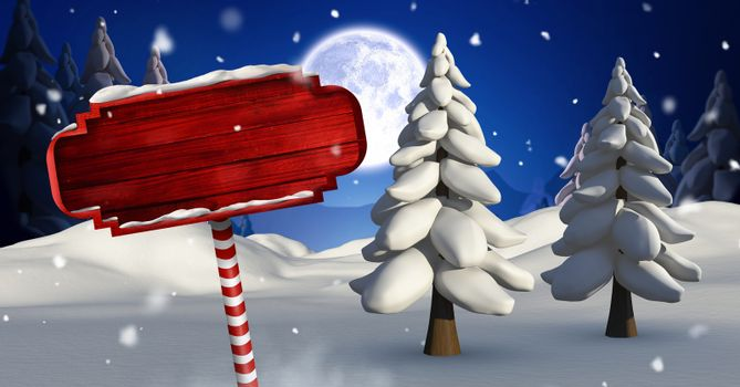 Wooden signpost in Christmas Winter landscape with trees