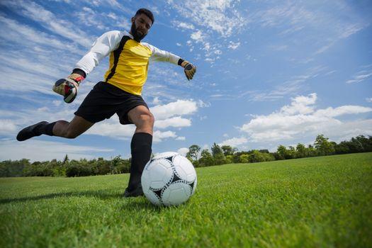 Goalkeeper kicking football in the ground