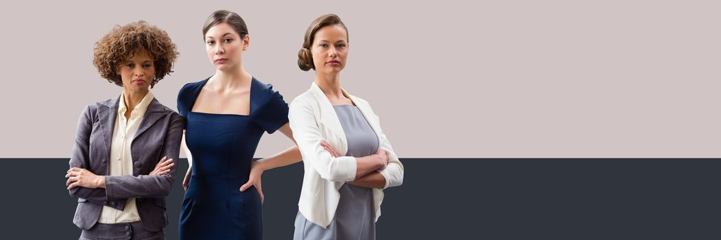 Businesswomen with minimal shapes