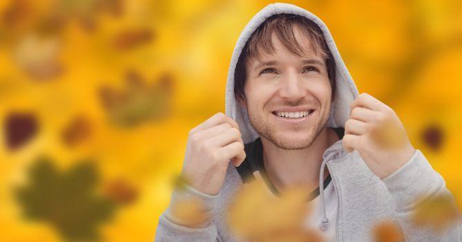 Man wearing hood with leaves