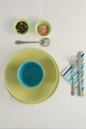Cutlery with bowls and ingredients
