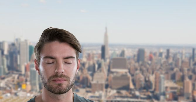 Businessman with eyes closed in city