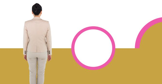 Businesswoman with minimal shapes