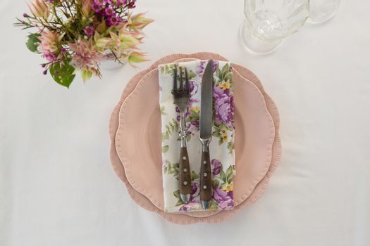 Beautiful floral theme table set for an occasion
