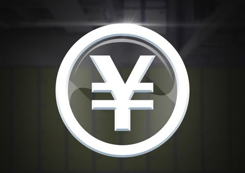 Yen graphic icon in glass circle