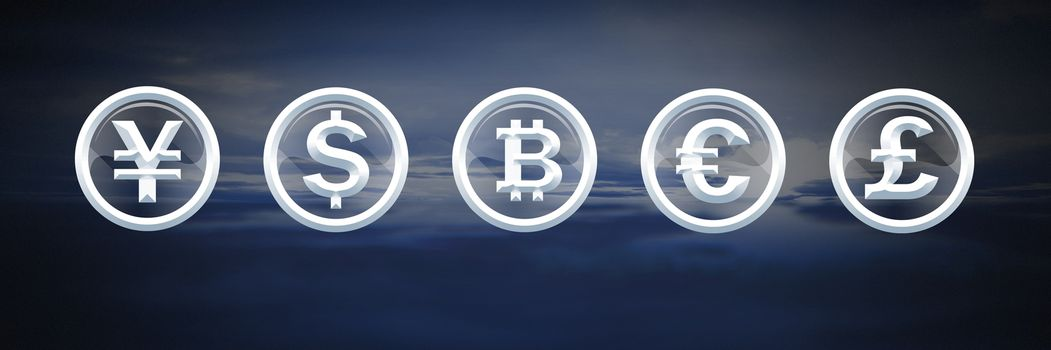 International Currency icons with sea