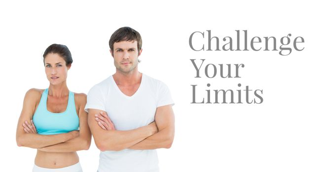 Challenge your limits text and fitness couple